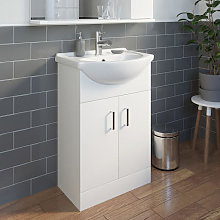 Essence White Gloss Bathroom Sink Cabinet &