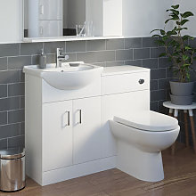 Essence White Gloss D-Shaped Toilet & Basin