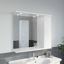 Essence White Gloss Mirror with Light - 850mm Width