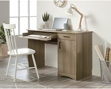 Essentials Computer Deskin Oak with Cupboards