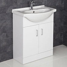 Essentials White Gloss Bathroom Sink Cabinet -