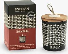 Esteban Teck & Tonka Decorated Scented Candle, 170g