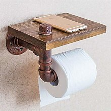 ETDWA Wall Mounted Toilet Paper Holder with Wood