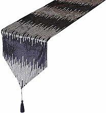 Eternal Beauty 30x183cm Sequin Black-Silver Table