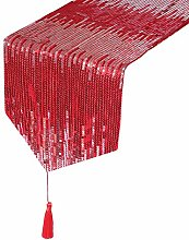 Eternal Beauty 30x238cm Sequin Red-Silver Table