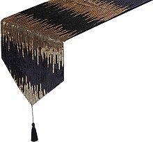 Eternal Beauty 30x274cm Sequin Black-Gold Table