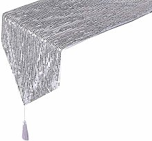 Eternal Beauty 30x274cm Sequin Silver Table Runner