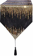 Eternal Beauty 33x213cm Sequin Black-Gold Table