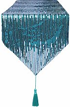 Eternal Beauty 33x213cm Sequin Teal-Silver Table