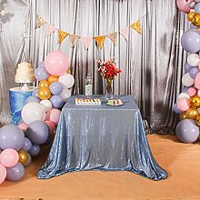 Eternal Beauty Sequin Tablecloths Square Baby blue