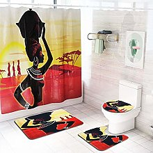 ETH Sunset African Woman Pattern Shower Curtain