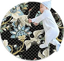 Ethnic Japanese Cranes, Printed Round Rug for Kids