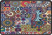 Ethnic Mandala Doormat Rug Easy to Clean Non Slip