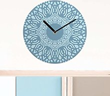 Ethnic MDF Wall Clock 30cm Blue Colourful Home