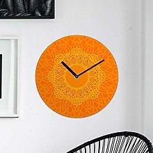 Ethnic MDF Wall Clock 30cm Orange Colourful Home