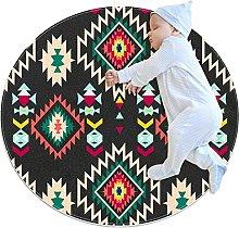 Ethnic Pattern, Kids Round Rug Polyester Throw