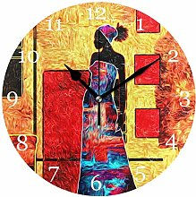 Ethnic Tribal African Woman Wall Clock Silent