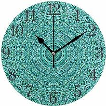 Ethnic Turquoise Mandala Round Wall Clock, Silent