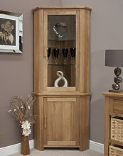 Eton solid oak furniture corner display cabinet