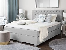 EU King Divan Bed Grey Fabric Upholstered 5ft3 Frame with Mattress and Button Tufted Headrest