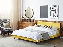 EU King Size Panel Bed 5ft3 Yellow Velvet Slatted