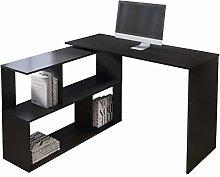 EUCO Computer Desk,Black Office Desk L-Shape PC