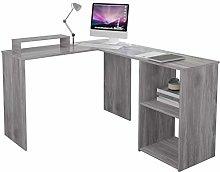 EUCO Computer Desk,Grey Office Desk L-Shape Wood