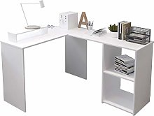 EUCO Computer Desk,White Office Desk L-Shape Wood
