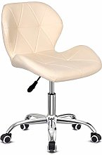 EUCO Desk Chair,Cream Leather Office Chair Comfy