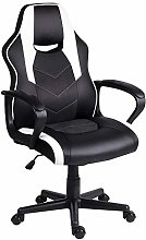 EUCO Gaming Chair White,Computer Racing Chair Faux