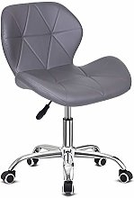 EUCO Grey Desk Chair,PU Leather Computer Chair