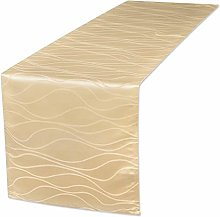 EUGAD Table Runner Washable Damask Stripe Wave
