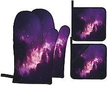 EUlemon Oven Mitts and Pot Holders Sets of 4,Space