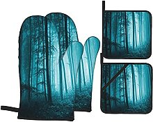 EUlemon Oven Mitts and Pot Holders Sets of 4,Teal