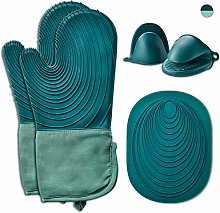 EUNA Silicone Oven Mitts Dark Green & Teal