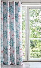 Eurofirany Curtain with Flamingo and Leaf Pattern