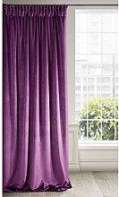 Eurofirany Soft Velvet Curtain Plain with Ruffle