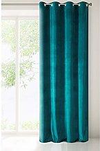 Eurofirany Velvet Curtain Velvet Teal Plain Smooth