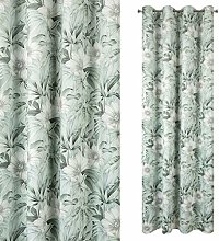 Eurofirany Velvet Curtain with Floral Print Green