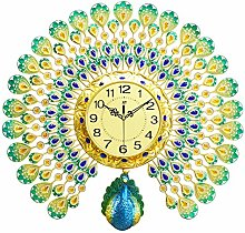 European Crystal Peacock Wall Clock Large