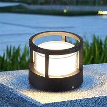 European Cylindrical Lawn Pedestal Lamp, Outdoor