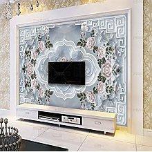 European Marble Wallpaper Rose Relief Pattern