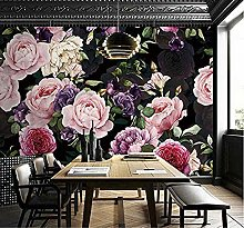 European Mural 3D Peony Wallpaper Living Room Tv