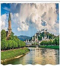 European Shower Curtain Salzburg Land Cloudy Print