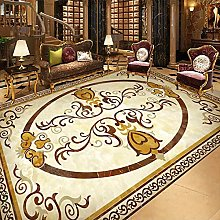 European Style 3D Marble Pattern Floor Wallpaper