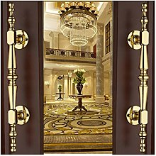 European Style Door Handle Golden Solid Wood Door