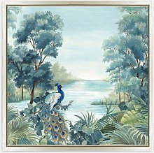 Eva Watts - 'Peafowl' Framed Canvas Print,