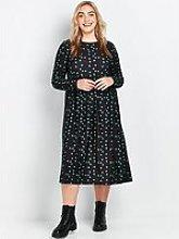 Evans Green Spot Midi Jersey Dress - Black
