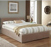 Evelyn Latte Fabric Upholstered Ottoman Single Bed