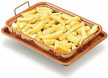 EVELYN LIVING Copper Crisper Tray Non Stick Basket